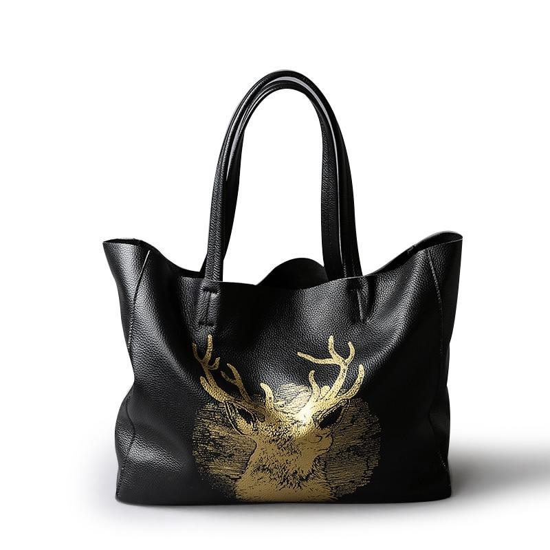 High-capacity Vintage Ladies Large Cow Leather Handbags Animal Prints Women Casual  Totes Bags Christmas  Elk Shoulder Bag
