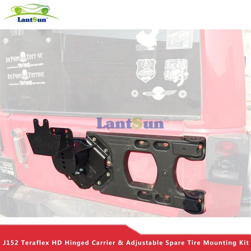 Set J152 de aluminio negro trasero Teraflex HD con bisagras, Kit de montaje de neumáticos de repuesto ajustables para jeep wrangler jk 07 + Lantsun