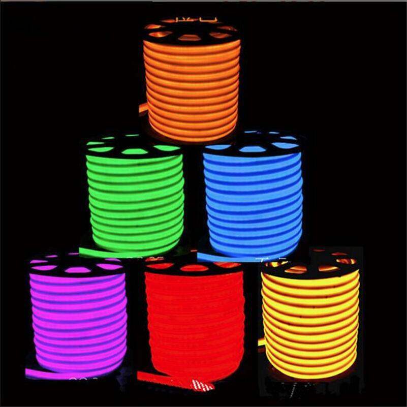 High Quality 20m LED Flex Neon Rope Light Waterproof IP68 80led/MF5 led neon flexible strip light /Warm/Cold/Bulb/Gree led ligh