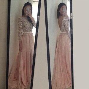 2020 A-line Evening Party Dresses Gown Long Sleeves Evening Gown robe de soiree V Back vestido de festa Chiffon Prom Dresses