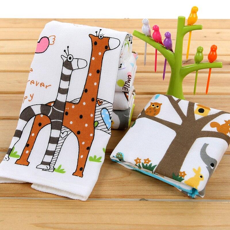25x50cm motivos animales gasa algodón telas niño toalla mano toalla al por mayor limpieza del hogar cara para bebé de alta calidad