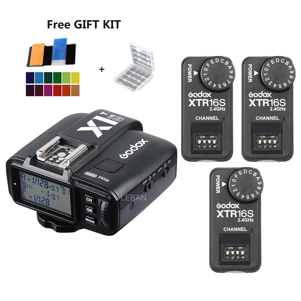 3x Godox XTR-16S sans fil 2.4G contrôle de puissance Flash récepteurs + X1T-N transmetteur sans fil pour Nikon V850 V860C V860N Flash