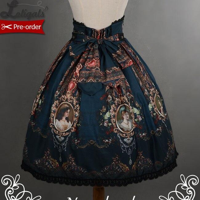 Jupe taille haute courte avec imprimé rétro Style Rococo, par sufflesong, [customisation disponible]