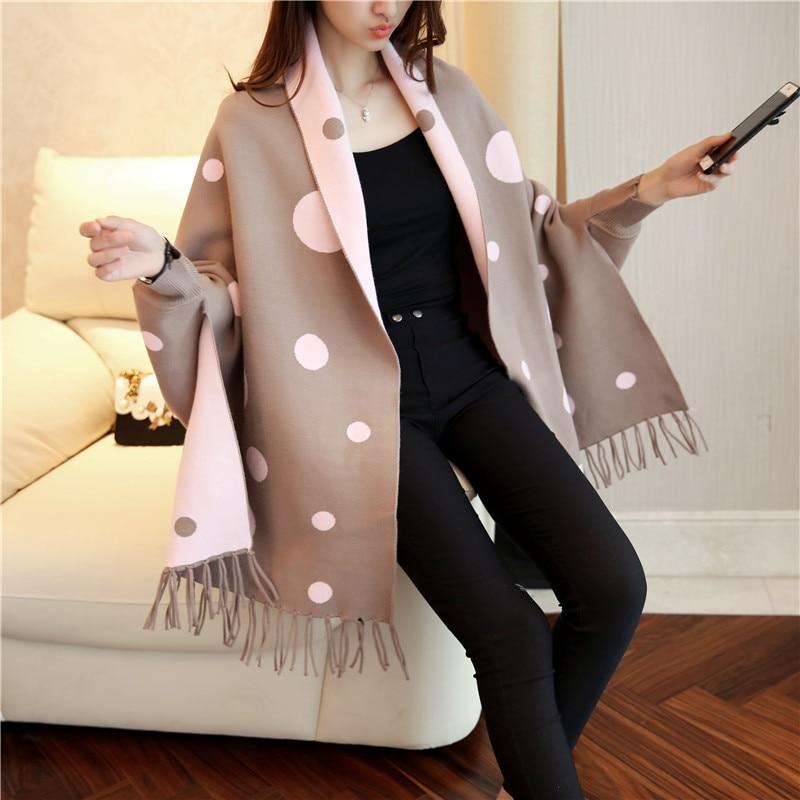 Spring and Autumn Fashion Cloak Cloak Polka Dot Fringed Cardigan Women's Sweater enlarge