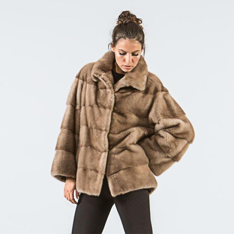 FURSARCAR Natural Real Mink Fur Jacket Luxury Winter Women Warm Thick Coats Turn Down Collar Female Real Fur Outerwear Customize