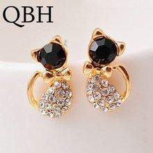 Pendientes New Brinco Fashion Animal Bijoux Cute Crystal Bow Gem Kitty Cat Stud Earrings For Women W