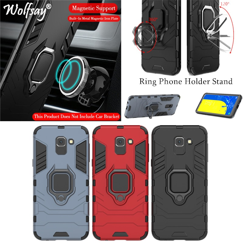Phone Holder Ring For Samsung Galaxy J6 2018 Case Magnet Armor Cover on the For Samsung J6 Case For