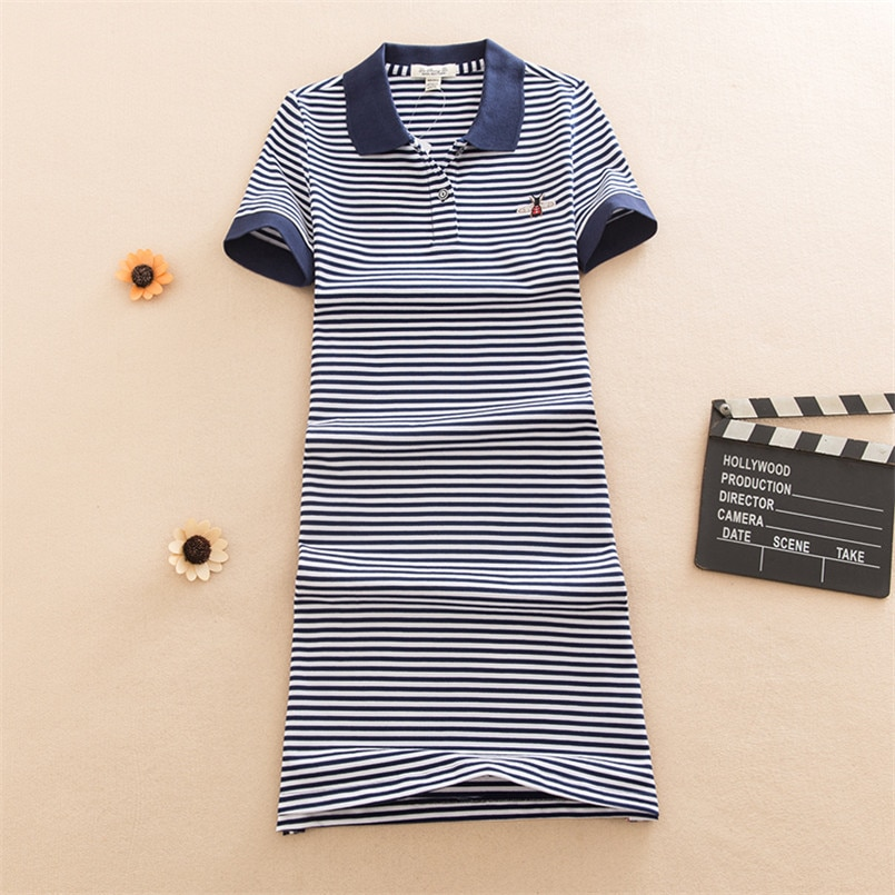 Bordado 2020 moda ajustada rayas estampado Polo fiesta camiseta mini Vestido corto Casual verano camiseta algodón de Mujer Vestidos