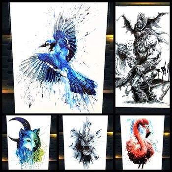 Henna Temporary Tattoo Flying Eagle Designs Women Body Art Paint Tattoo Sleeve Arm 21x15CM Hawk Tattoo Chest Neck Choker