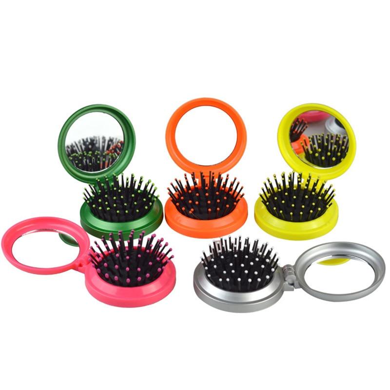 Pocket Size Travel Brush Fashion Massage Hair Folding Mirror Comb Air Bag Portable Round Airbag Comb Folding Makeup Mirror