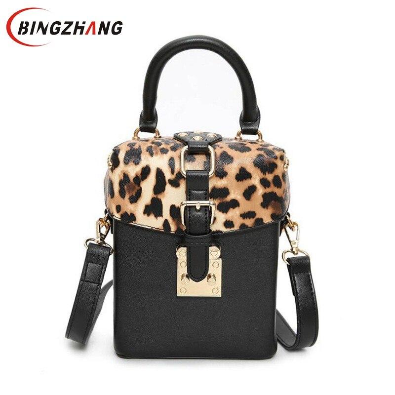 2020 New Children Leopard printing small box package rivets box handbag shoulder bag Women Messenger bag tide package L4-3182