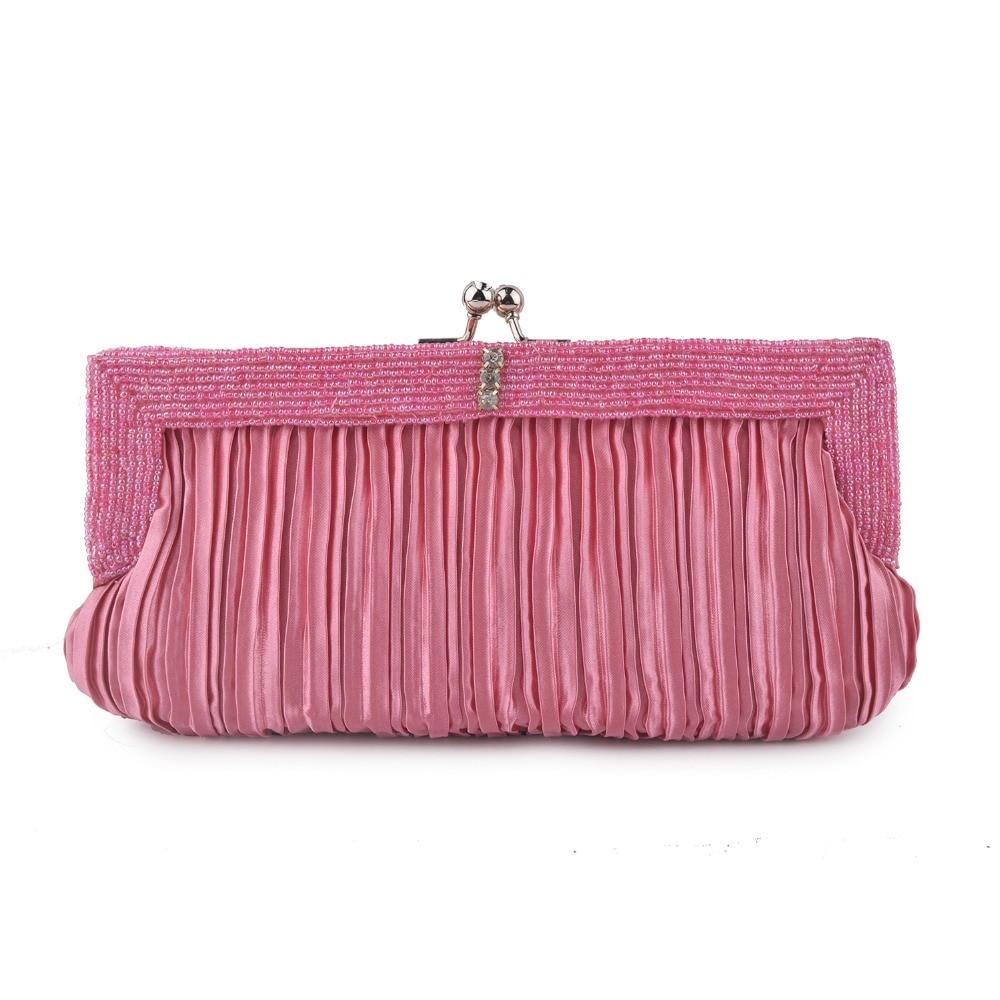 XIYUAN mujeres púrpura/blanco/rosa/caqui bolsos de noche boda fiesta nupcial monedero de tela...