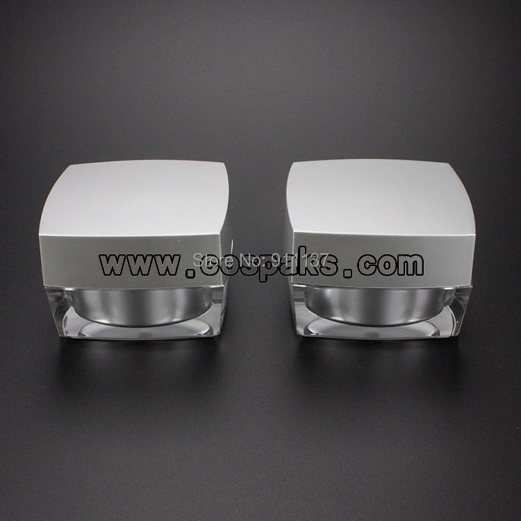 Contenedor de crema Facial de forma cuadrada de plata de 24 piezas JA50 15g, tarro de crema de ojos de plástico de 15G, frasco acrílico vacío para la piel de 15 ML