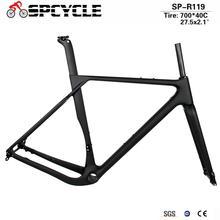 Spcycle carbone gravier cadre frein à disque BB386 carbone Cyclocross vélo cadre Aero route vélo cadre Max pneu 700 * 40C ou 27.5*2.1