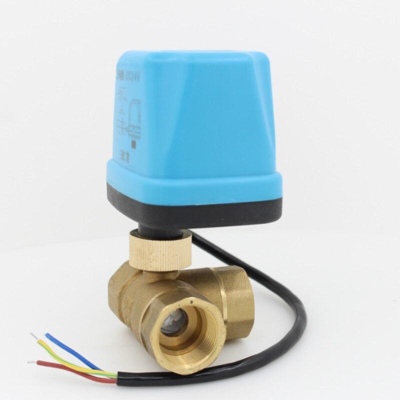 Vias motorizada válvula de esfera 3 24 v AC 24 v DC atuador elétrico da válvula de esfera de bronze válvula de esfera elétrica 3 -fio DN15 DN20 DN25 DN32 DN40