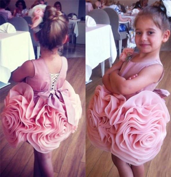 Vestidos rosas de flores para niña para bodas, vestido de baile corto de Organza, vestidos de primera comunión con volantes de proa para niñas pequeñas