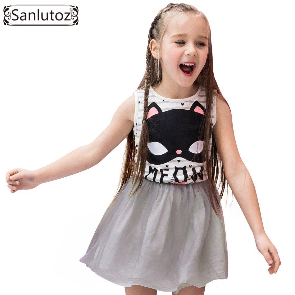 Sanlutoz/платье-пачка для девочек; Детский костюм в полоску с рисунком кота; летнее платье принцессы для дня рождения; Брендовые платья для малы...