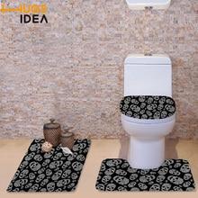 HUGSIDEA Black Skull Gedrukt Decoraties antislip Toiletbril Washroom Set Santa Decoratieve Wc Stoelhoezen Deksels en Tapijt set
