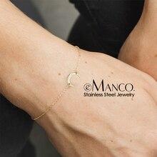 EManco dames Simple Bracelets en acier inoxydable lune bracelet à breloques pour les femmes couleur or marque bijoux de mode