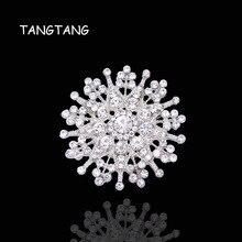 44mm mode alliage strass cristal Corsage fleur flocon de neige broche de mariage pas cher broche Hotsale 2018 à la mode, article non. FB020