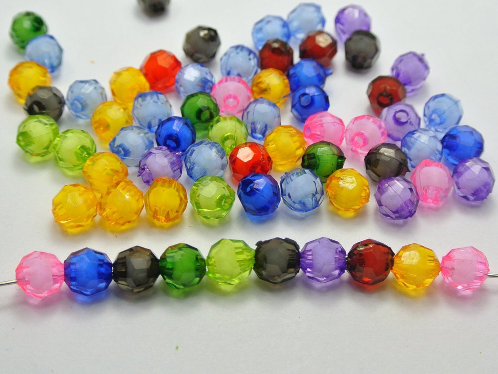 200 pcs Mixed Color Acrylic Faceted Round Beads 8mm