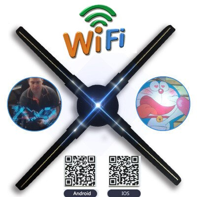 50CM Novelty Wifi RGB 3D LED Holographic Fan Sign Projector Hologram Player LED Display Advertising APP Control Gift for Men недорого