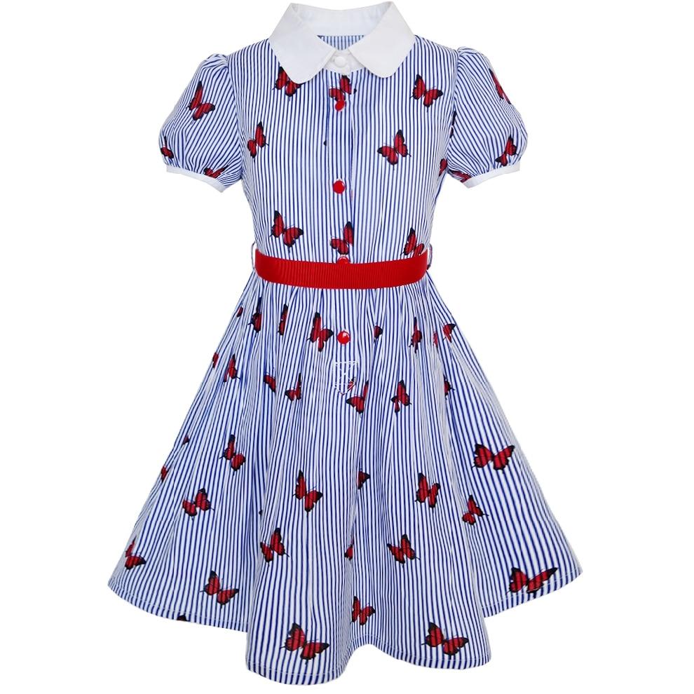 Sunny Fashion Vestidos niña Uniforme escolar Azul Gaza Mariposa Guingán Algodón 2020 El verano Princesa Boda Partido Vestidos Ropa de niños Pompa