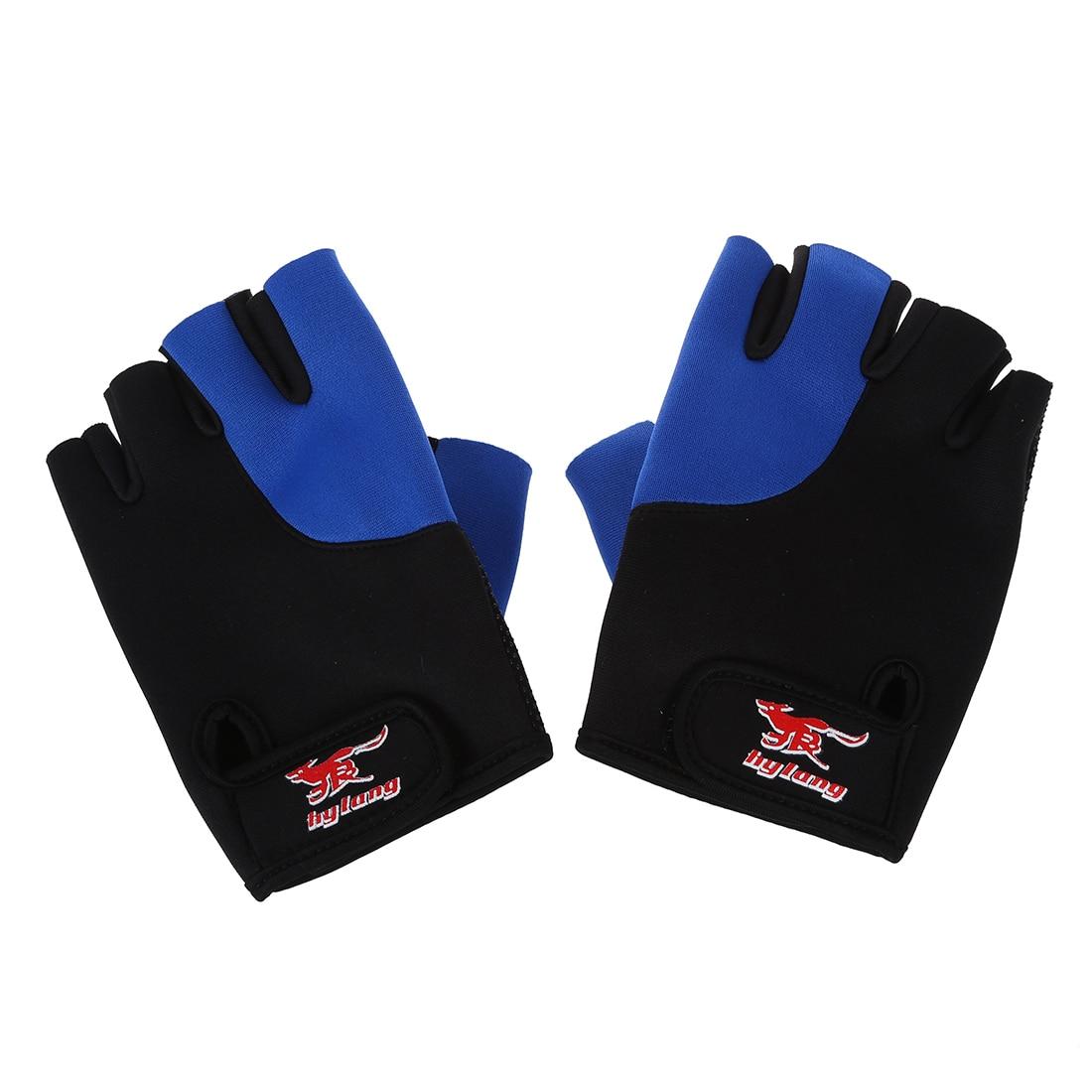 2 uds guantes deportivos sin dedos de neopreno negro y azul para hombre