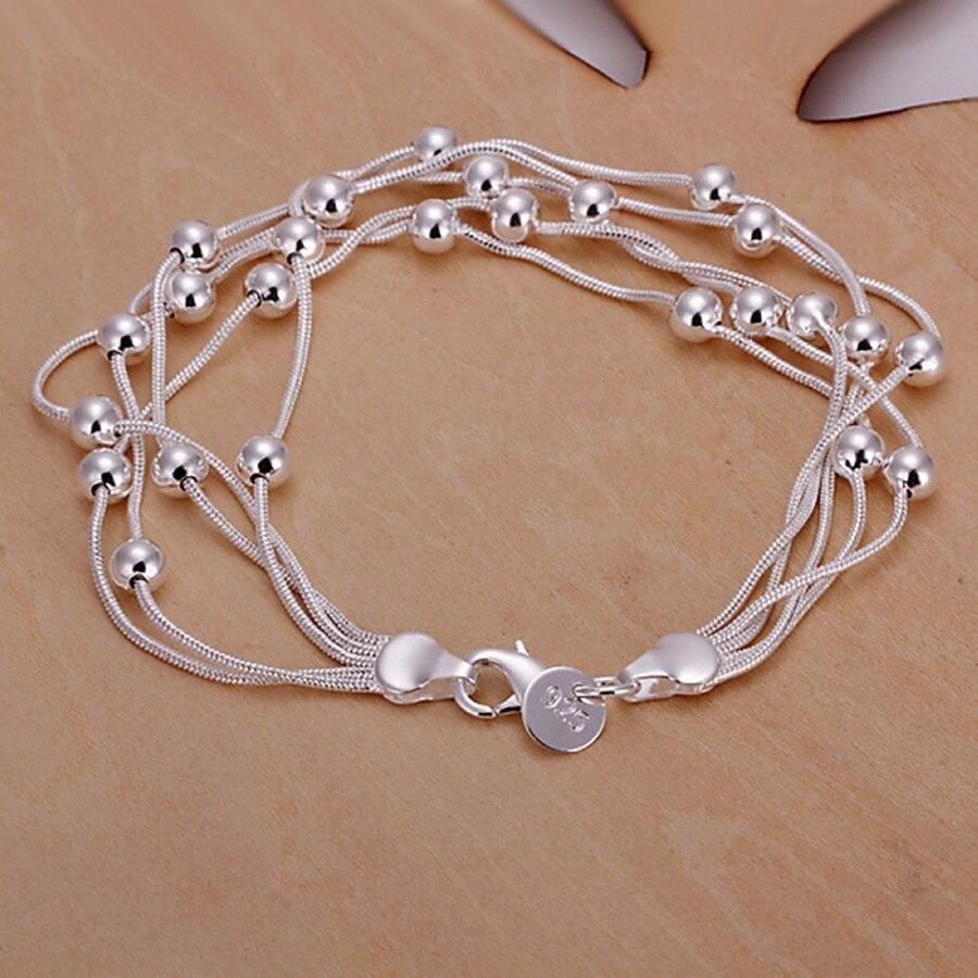 Producto popular de moda en oferta, pulseras de cuentas de cadena de color plateado para mujer, regalos para mujer, envío gratis H234