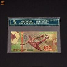 2018 Rusland Wk Voetbal Note 100 Roebel Kleur Goud Bankbiljetten Geld Goudfolie Bank Bill Collection Voor Gift