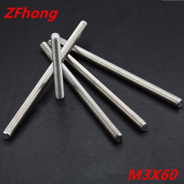 20 шт. стержень резьбы M3 * 60 нержавеющая сталь 304 стержень резьбы