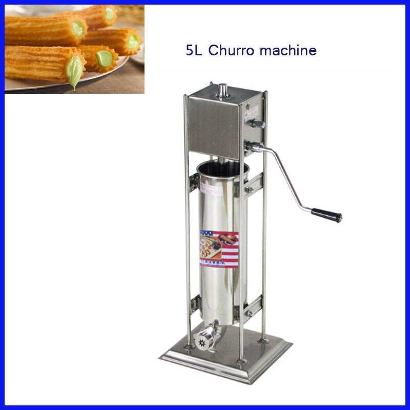 De moda de acero inoxidable manual de operación de 5L nutella dispensador de churro de máquina de churros para venta churros de relleno