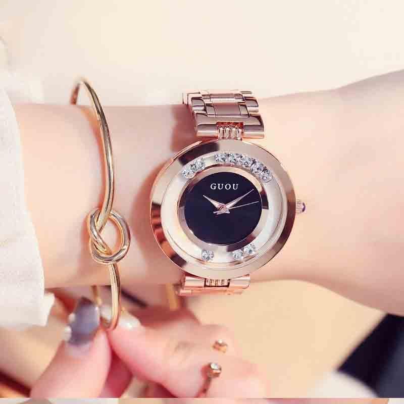 ساعة يد نسائية مستديرة ساعة كوارتز بسيطة ساعة عصرية للنساء بسوار ساعة من الفولاذ G8039S