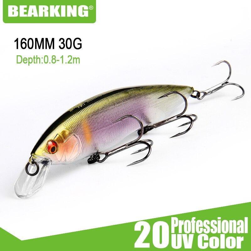 Bearking 160mm 30g novo 2019 iscas de pesca quente, cores sortidas, manivela minnow, sistema de peso de tungstênio wobbler modelo manivela isca