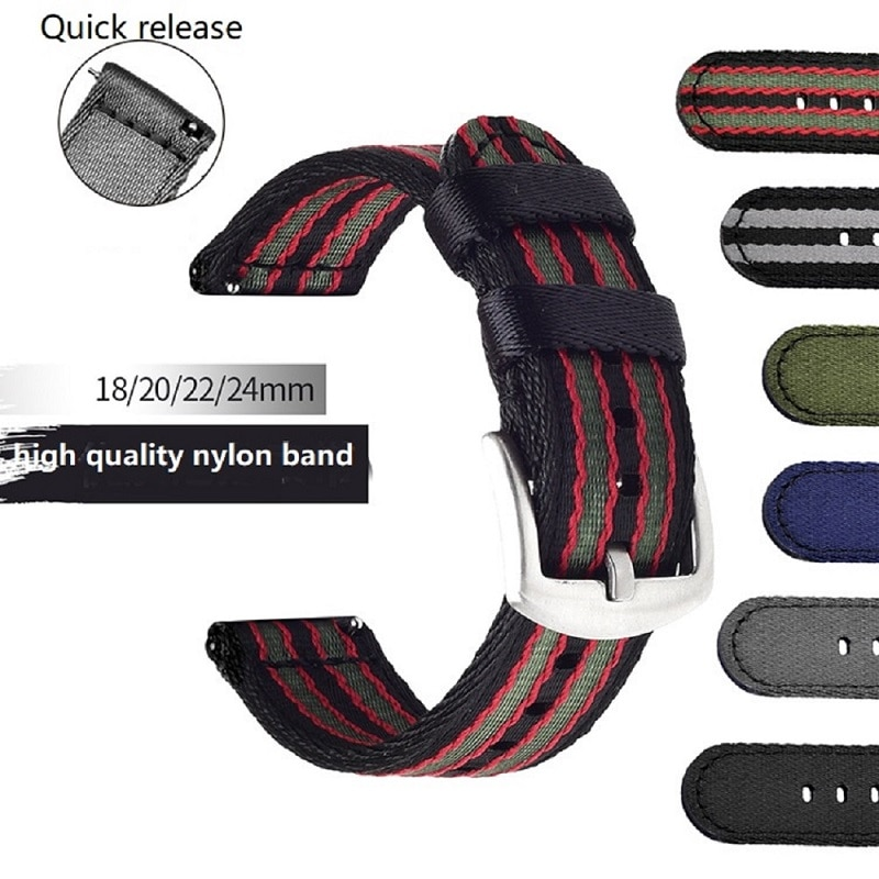 18mm 20mm 22mm 24mm High Quality Nylon Strap NATO Quick Release Sport Canva Watchband Replacement Band Bracelet for DW Watch