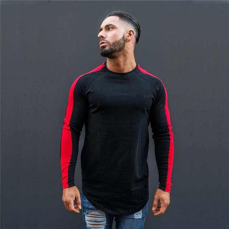 Primavera correndo t camisa dos homens de manga longa aptidão rashgard fino ginásio treinamento camiseta algodão retalhos respirável roupas esportivas