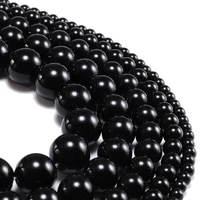 1strandlot 4 12mm natural stone smooth glisten black glass bead loose spacer bracelet beads for diy jewelry making findings