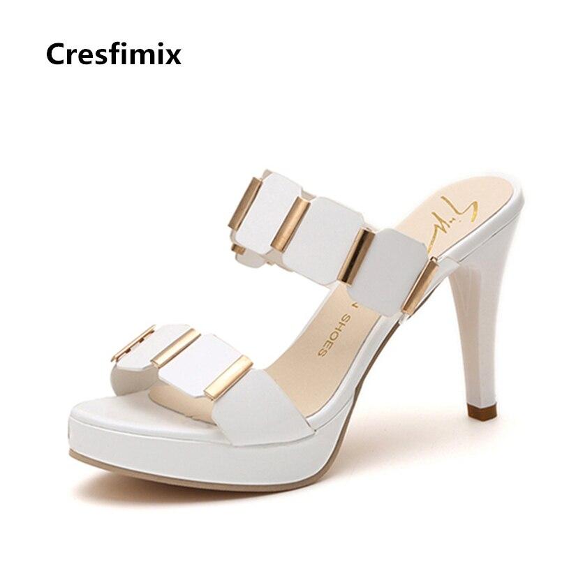 Cresfimix sandalias de mujer; Женские милые белые босоножки на высоком каблуке 9 см; Женские модные черные босоножки без застежки из искусственной кожи; П...