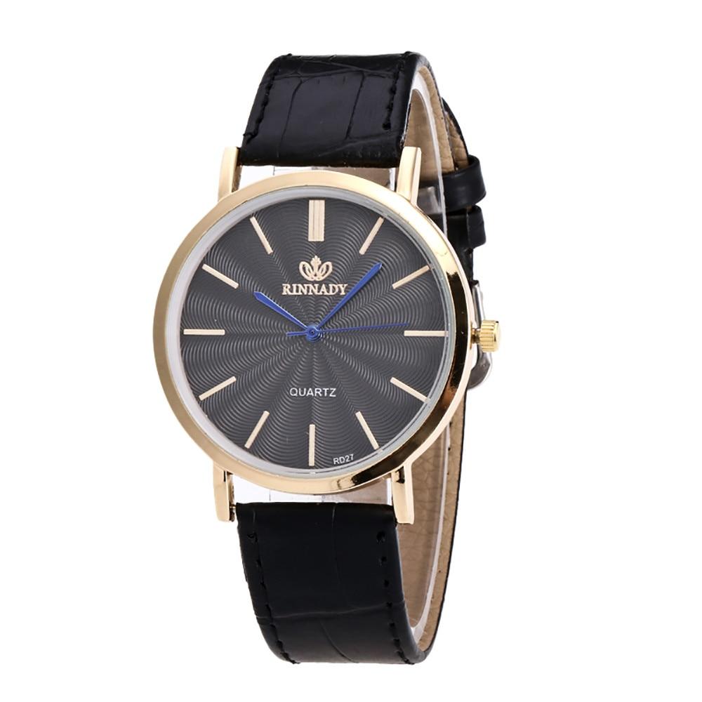 Деловые Мужские кварцевые наручные часы с кожаным ремешком и золотым чехлом
