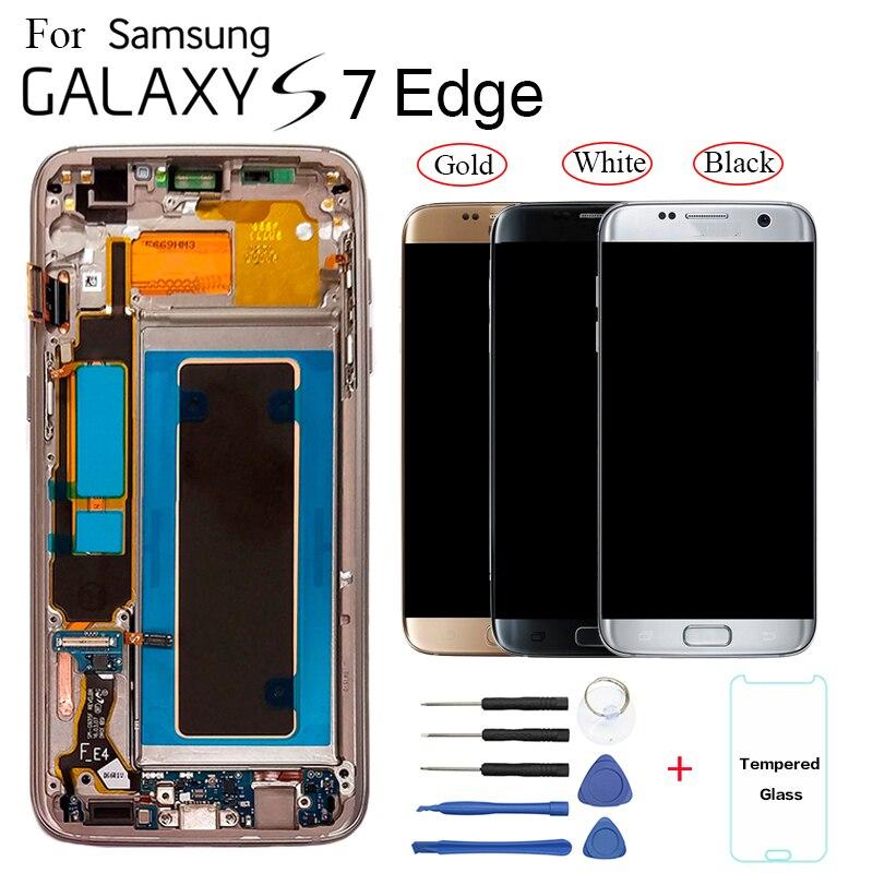 Para Samsung Galaxy S7 edge G935F G935FD reemplazo de la pantalla lcd de pantalla para Samsung G935W8 G9350 Módulo de pantalla lcd con marco