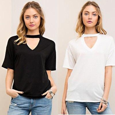 Fashion Women Casual Short Sleeve Shirts Choker Tops Ladies Summer New T Shirt