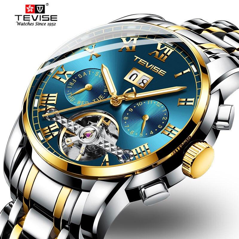 TEVISE Reloj de los hombres de acero inoxidable Tourbillon calendario mecánico automático Reloj hombres Relogio Reloj Hombre