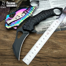 Lcm66 접는 karambit 접는 나이프 csgo 선물 전술 포켓 나이프, 야외 캠핑 정글 생존 전투 자기 방어 도구