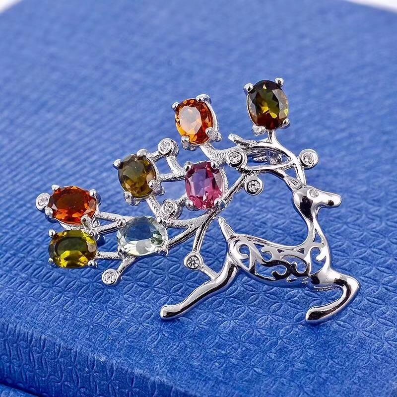 Natural multicolor tourmaline Lovely elk deer brooch S925 silver Natural gemstone brooch Pendant women girl gift jewelry