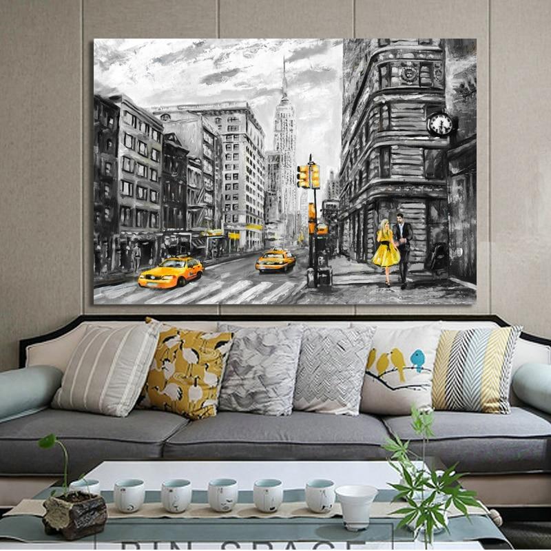 Pintura de paisagem abstrata, posteres e impressões em tela, arte em parede, pintura a óleo, nova york e paris, cidade, imagem para sala decoração do quarto,