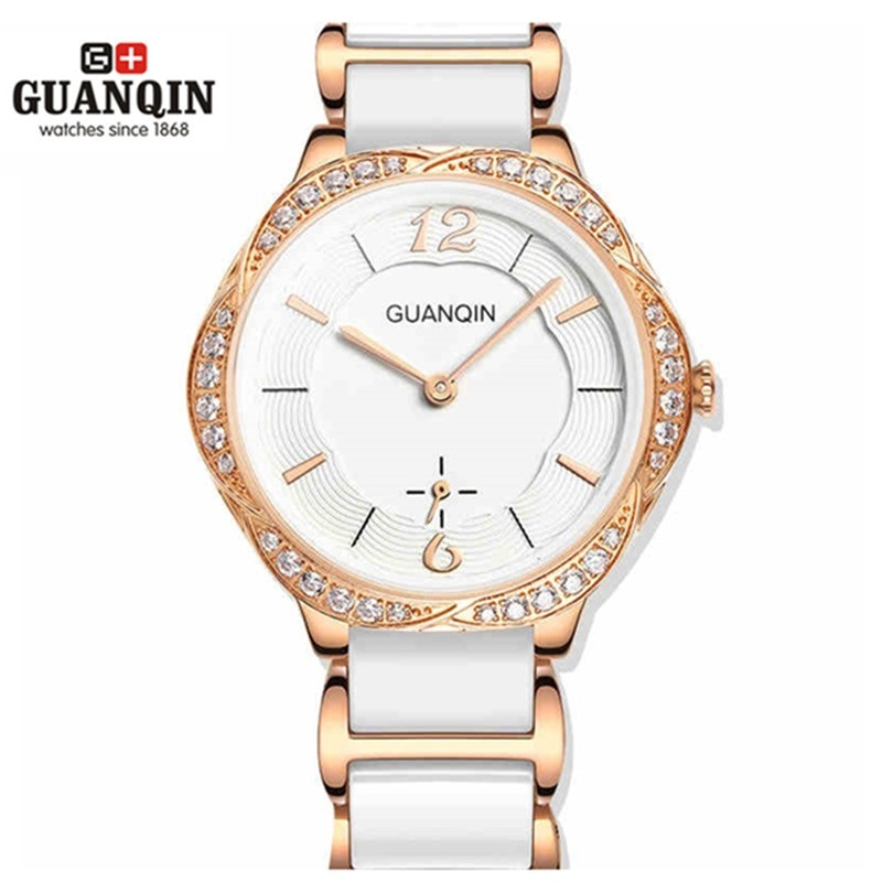Moda reloj de cerámica mujer GUANQIN reloj mujer alta calidad cuarzo lujo chica relojes 2020 relojes de pulsera de vestir a prueba de agua
