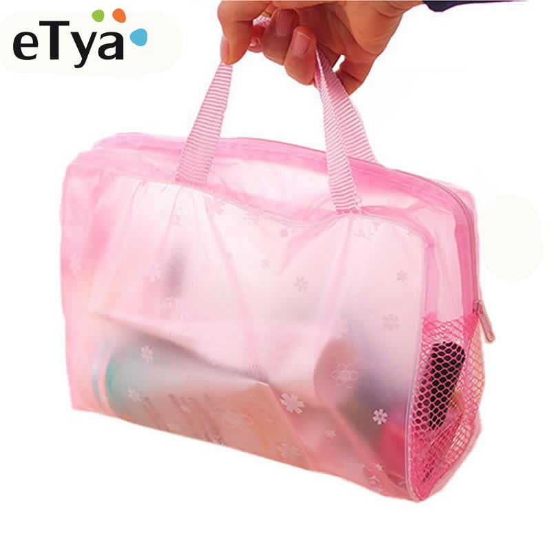 Etya 5 Kleuren Make Up Bag Organizer Toilettas Baden Opbergtas Vrouwen Waterdichte Transparante Bloemen Pvc Reizen Cosmetische Tas