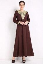 Femmes musulmanes à manches longues dubaï robe maxi abaya jalabiya femmes islamiques robe vêtements robe caftan mode marocaine embroidey