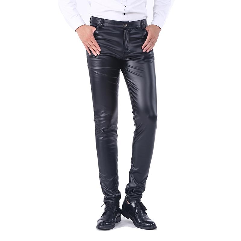 Pantalones de Jean Idopy ajustados de negocios para hombre con cinco bolsillos elásticos cómodos negros de piel sintética para hombre