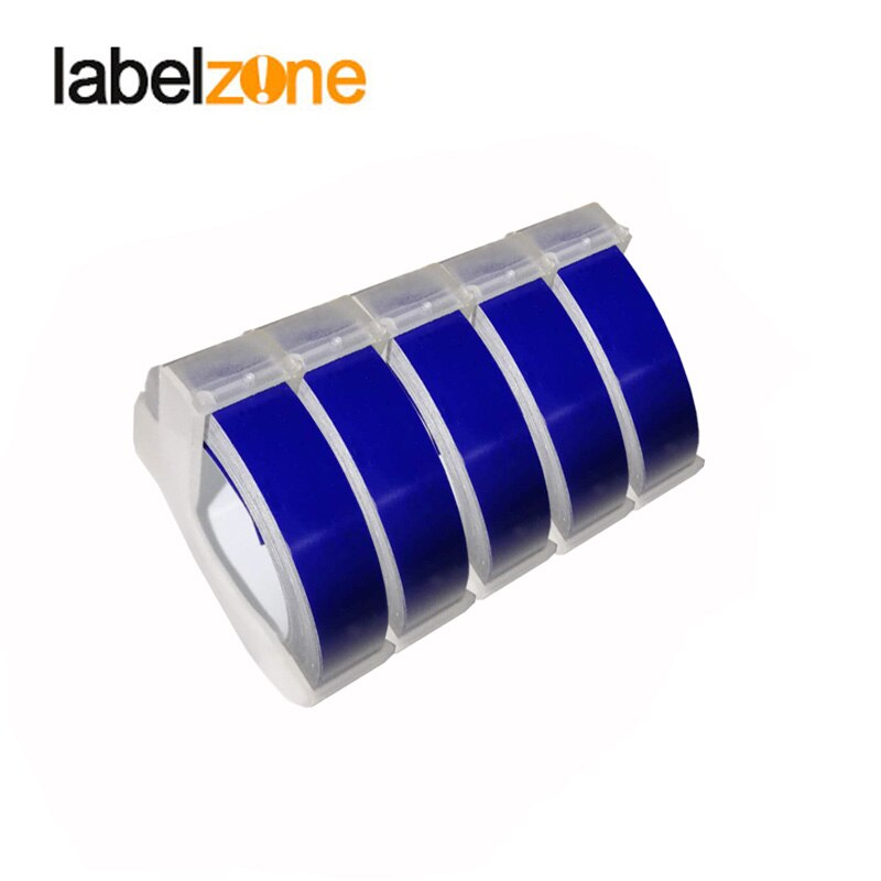 5 uds 9mm azul profundo 3D grabado de PVC cinta de etiquetas Compatible Dymo 1610 12965 impresora Manual de etiquetas para Motex E101 fabricante de etiquetas